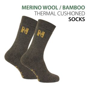 Merino Wool and Bamboo Fully Cushioned Thermal Outdoor Socks - Gabby