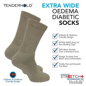 Wool - Cushioned Extra Wide Socks with Stretch+ Technology - Peter